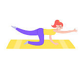 Vector illustration of athletic woman character exercising fitness at home