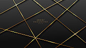 Abstract perspective golden lines pattern on black background. Luxury and elegant style. You can use for cover, poster, web, flyer, Landing page, Print ad.