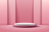 Abstract round display for product on website in modern. Background rendering with podium and minimal pink texture wall scene, 3d rendering geometric shape white & red wine color. Vector EPS10