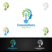 Creative Brain Tree Idea Symbol With Face and Head for Thinking and Main Concept