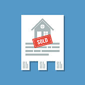 real estate paper tear-off ad with sold stamp, flat vector illustration