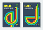 dark gray covers with red yellow green blue arrows, vector retro styled template