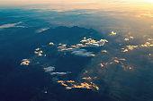 Tatras mountains range panorama aerial view. Poland Europe. Nature sunrise background