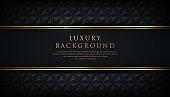 Luxury black stripe with gold border on the dark geometric background. VIP invitation banner. Premium and elegant. Vector illustration.