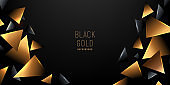 Abstract luxury triangle element of geometric gold style geometric pattern on dark background with copy space. Premium & elegant. You can use for template, poster, banner web, print ad. Vector EPS10