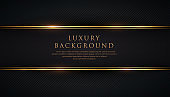 Luxury black stripe with gold border on the dark diagonal line texture background. VIP invitation banner. Premium and elegant. Vector illustration.