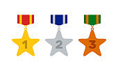 golden silver bronze star shape medals with color ribbons, flat vector set