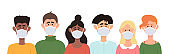 Vector illustration of people in protective face dust masks