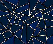 Abstract luxury dark navy blue gradient geometric shape with golden line. Modern mosaic elegant style. Vector illustration