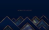 Abstract modern luxury dark navy blue gradient triangles shape with golden line and glow glitter texture. Geometric overlapping layer elegant style with copy space. Vector illustration
