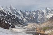Karakoram mountain landscape view from Gondogoro la pass in K2 base camp trekking, Gilgit Baltistan, north Pakistan