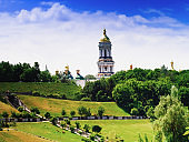 Panorama of the Kiev-Pechersk Lavra.Concept of stay at home.Ukraine, Kyiv. Copy space