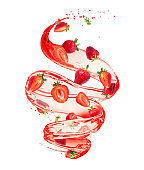 Strawberries in splashes of juice in a swirling shape, isolated on white background