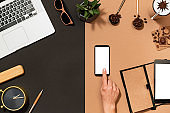 Workspace coffee design mockup with smartphone