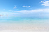 Maldives perfect paradise beach and turquoise sea with clear sky background