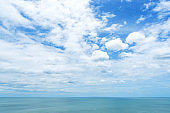 Tropical ocean and blue sky with white clouds