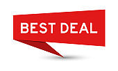 Red paper speech banner with word best deal on white background