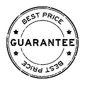 Grunge black best price guarantee word round rubber seal stamp on white background
