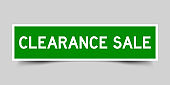 Label square green sticker in word claerance sale on gray background (vector)