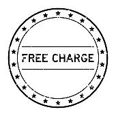 Grunge black free charge word round rubber seal stamp on white background