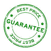 Grunge green best price guarantee word round rubber seal stamp on white background