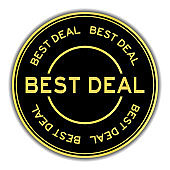 Black and gold color round sticker with word best deal on white background