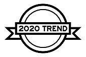 Vintage black color round label banner with word 2020 trend on white background