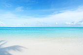 Maldives perfect paradise beach with turquoise sea and blue sky background