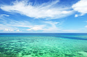 Beautiful turquoise tropical ocean and clear sky scene for background or wallpaper