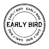 Grunge black early bird word round rubber seal stamp on white background