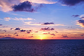 Landscape of sea with sunset sky when the dusk
