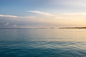 Landscape of tropical sea at sunset time