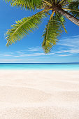 Exotic tropical beach scene for background or wallpaper