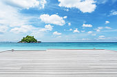 Wooden jetty with turquoise sea and clear sky background