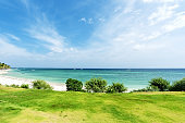Green lawn beside tropical beach and turquoise sea with clear sky