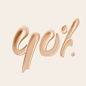 40 % sale cosmetic product banner foundation beige smear. Number forty percent discount. 3d rendering