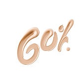 60 % sale cosmetic product banner foundation beige smear. Number sixty percent discount. 3d rendering.
