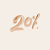20 % sale cosmetic product banner foundation beige smear. Number twenty percent discount. 3d rendering.