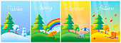 Landscape four seasons - winter, spring, summer, autumn with lawn, trees. Vector flat illustrations.