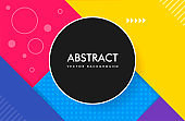 Abstract material design color background with a round frame and a set of lines and other geometric shapes