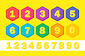 Set colorful children numbers. Vector flat illustrations. Numbers for kids in bright colors.