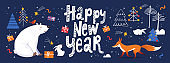 Happy New Year social media banner in Nordic Scandinavian hand drawn style with cute animals.