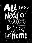 Stay at home chalkboard lettering poster design.