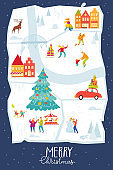 Merry Christmas poster with city map and people doing winter activities.