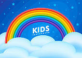 Kids background night sky with a rainbow, clouds and stars. Vector flat illustration. Baby pattern.