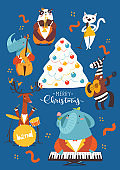 Christmas cartoon poster with cute jazz musicians characters.