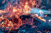 Hot fire. Flame of a bonfire