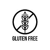 Gluten free seals. Black and white design, can be used as stamp, seal, badge, for packaging etc.