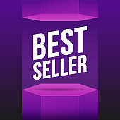 Podium best seller violet mockup. Vector flat illustrations. Scene, pedestal and 3D platform.