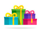 Big group gift boxes with ribbons and bows. Vector flat illustration. Colorful wrapped.